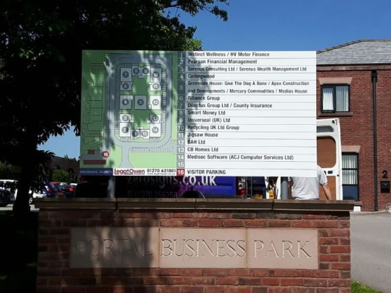 digital printed directory sign with map