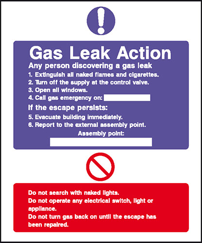 Gas Leak Action Fire Health Amp Safety Signs Uk Postage